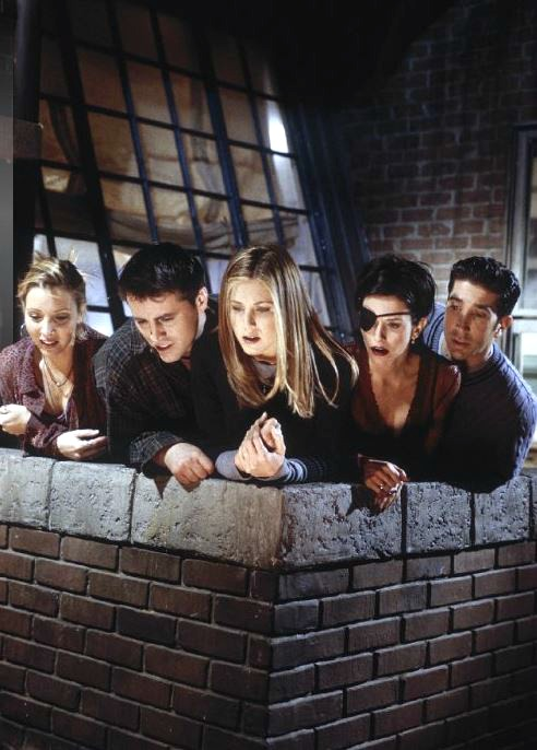 Cast of Friends on Monica's Terrace