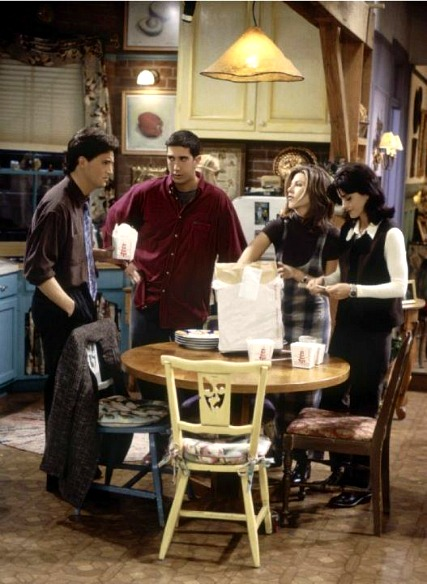 Chandler Ross Rachel Monica in Kitchen on Friends