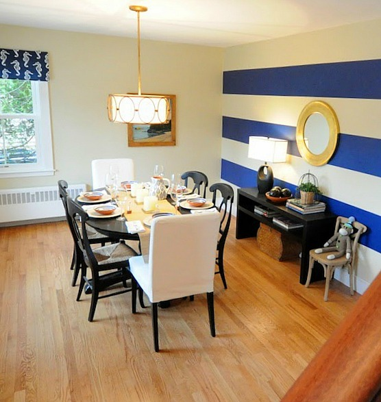 Dining Room with Blue and White Stripes