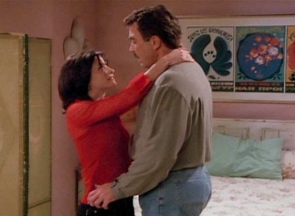 Monica's apartment bedroom on Friends with Tom Selleck