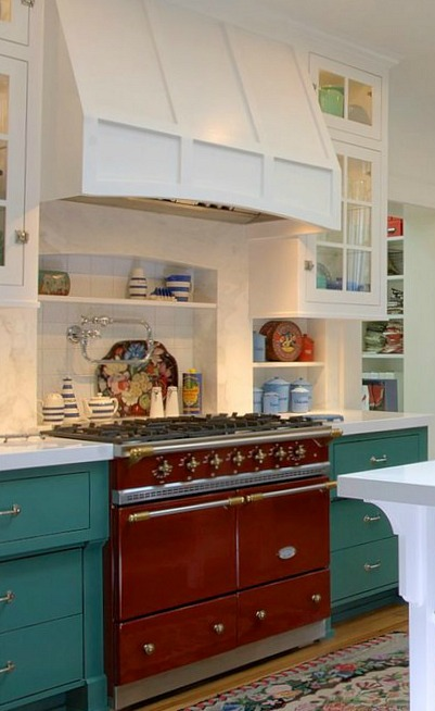 Red Kitchen Range in Alison's Farmhouse