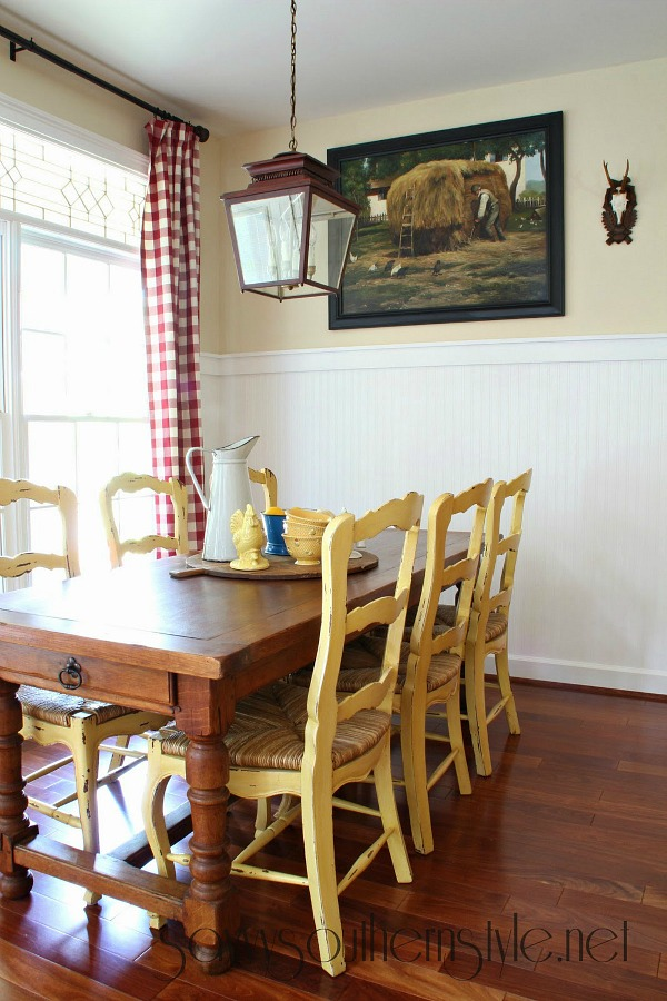 Savvy Southern Style - Kim's kitchen yellow chairs 2
