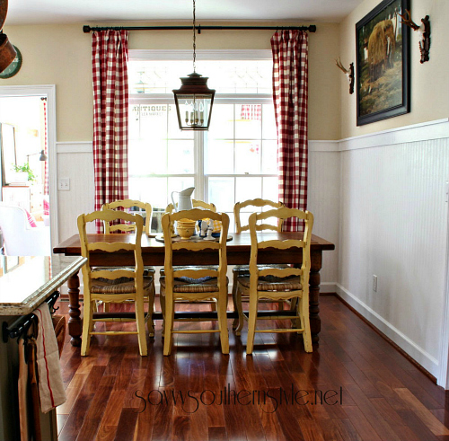 Savvy Southern Style - Kim's kitchen yellow chairs