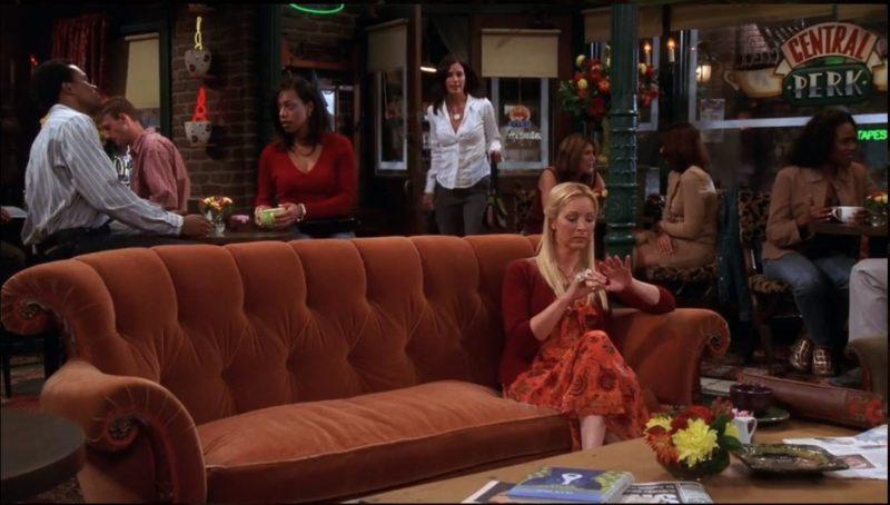 orange sofa in Central Perk on Friends