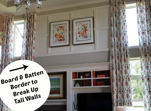Board and Batten Border around Two-Story Family Room | hookedonhouses.net