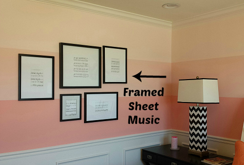 Framed Sheet Music on Bedroom Wall