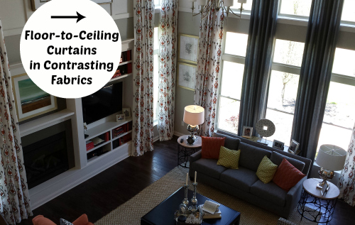 10 decorating ideas spotted in a model home hooked on houses for Ceiling to floor blinds