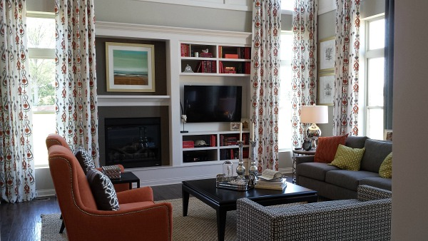 fireplace and TV wall in model home