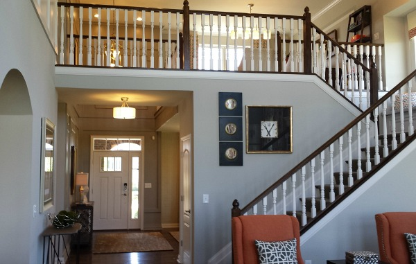 front door and staircase model home