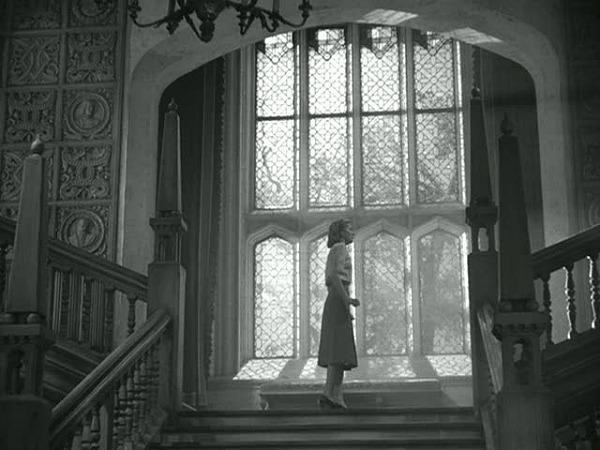 staircase landing at Manderley in Rebecca