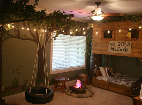 Campfire and Treehouse Themed Kid's Room