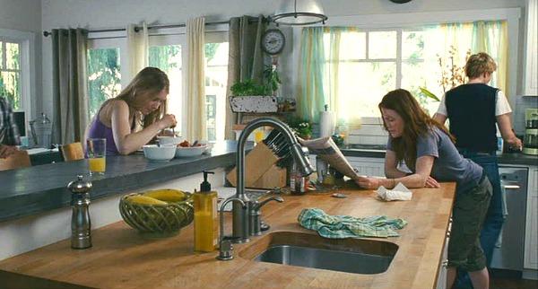 sitting at the kitchen island