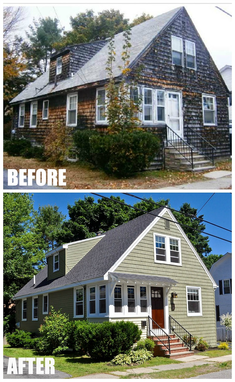A craftsman style bungalow makeover in maine by sopo cottage for Before and after exterior home makeovers