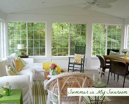 Julia's Sunroom in the Summer | hookedonhouses.net