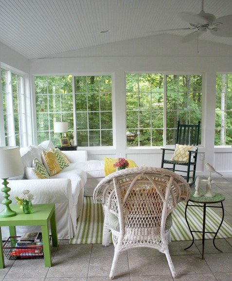 Julia\'s sunroom with vaulted ceiling and white Ektorp slipcovered sofa
