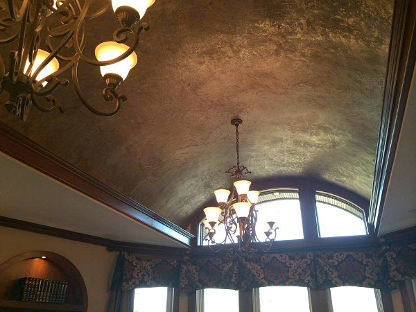 barrel ceiling in family room