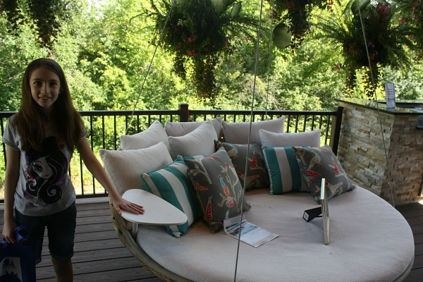 big swinging lounge bed on porch