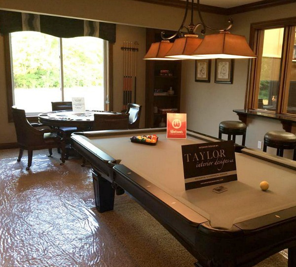 billiard and game room in lower level