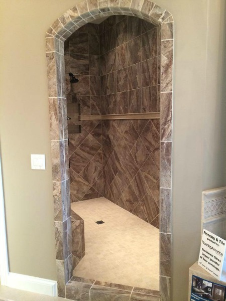 large walk-in shower at homearama