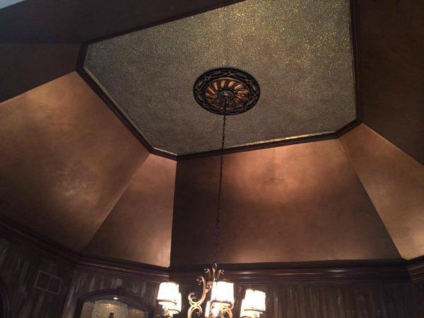 metallic painted ceiling octagonal dining room