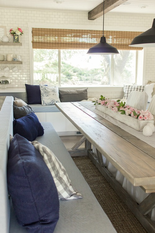wood kitchen table with bench seating