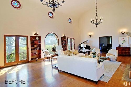 Ellen Pompeo's living room BEFORE