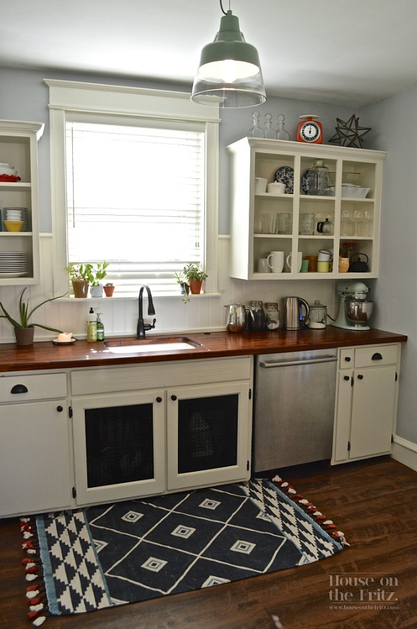 An old kitchen gets a new look for less than 1 500 for Small rugs for kitchen