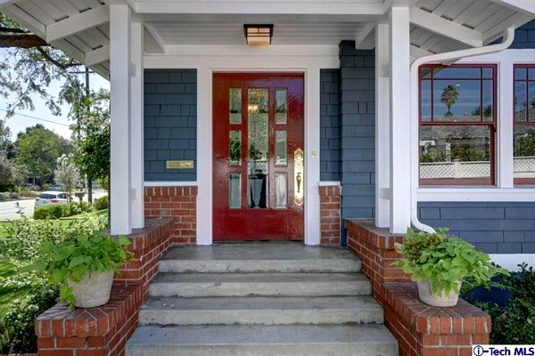 Red front door with blue siding on Craftsman in Pasadena | hookedonhouses.net