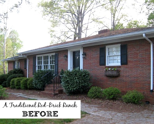 Giving a basic brick ranch curb appeal and more hooked for Before after exterior 1930