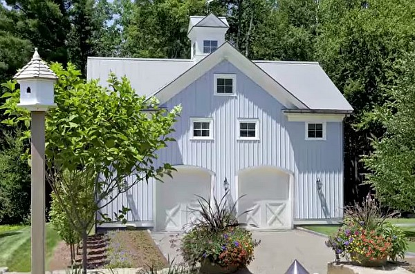 garage and carriage house behind farmhouse in Berkshire Woods