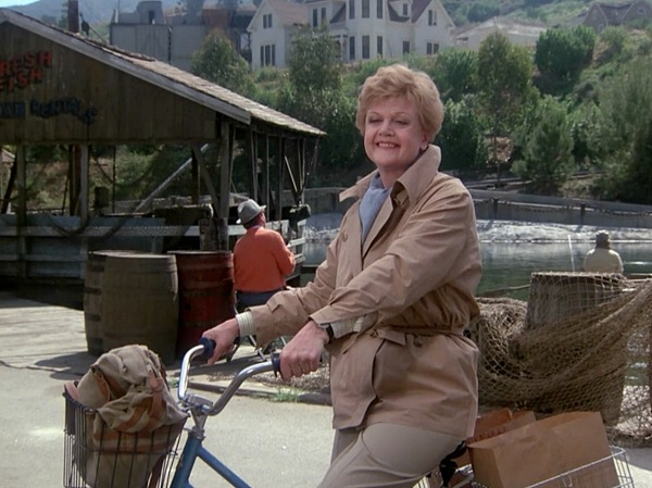 Angela Lansbury on her bike Cabot Cove