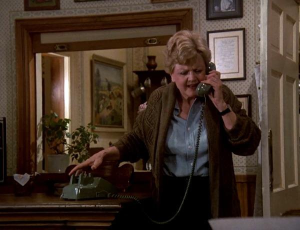 Angela Lansbury talking on a phone