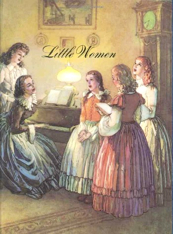 cover of vintage Little Women Junior Illustrated edition with sisters singing