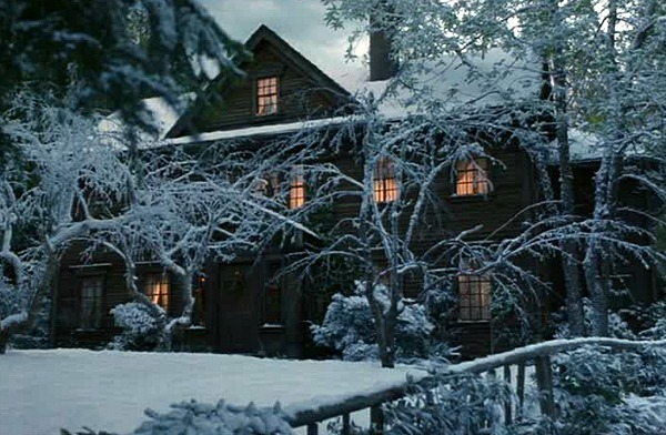 Orchard House from Little Women covered in snow