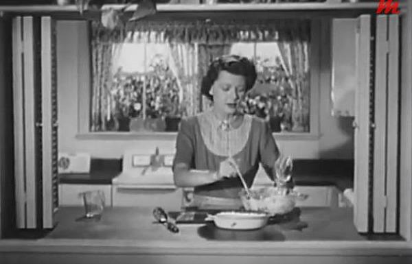 Harriet Nelson in her kitchen