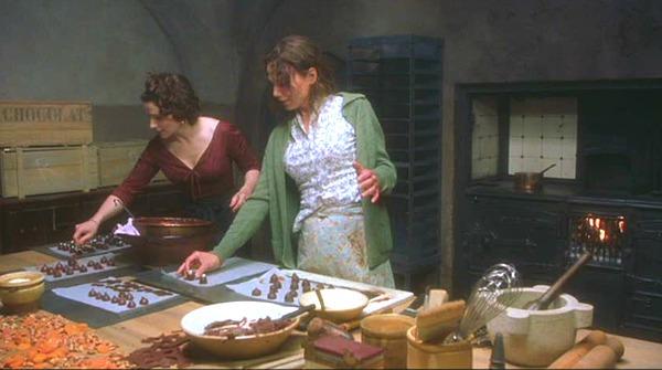 Juliette Binoche and Lena Olin making chocolates