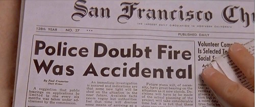 doubtfire newspaper headline arson