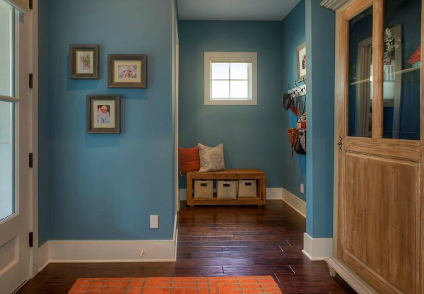 entry hall with blue walls