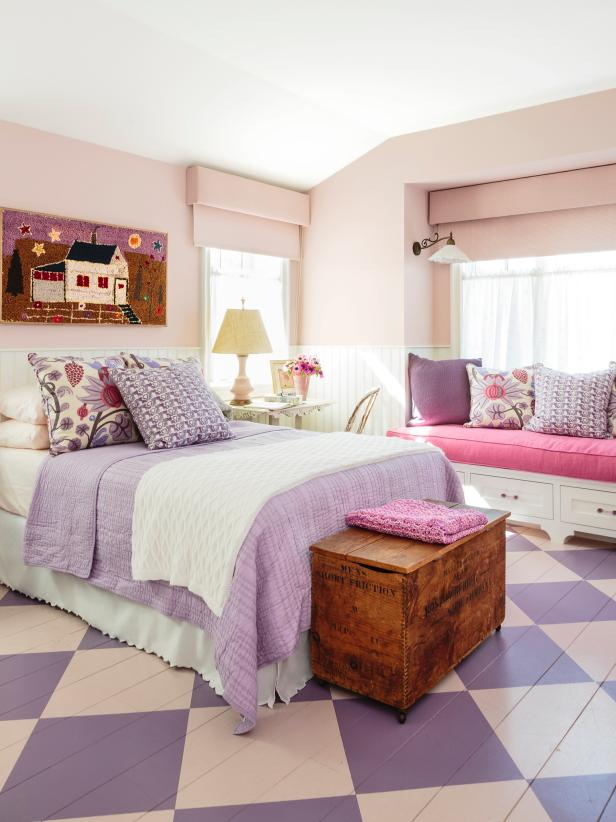 Purple bedroom with painted floors