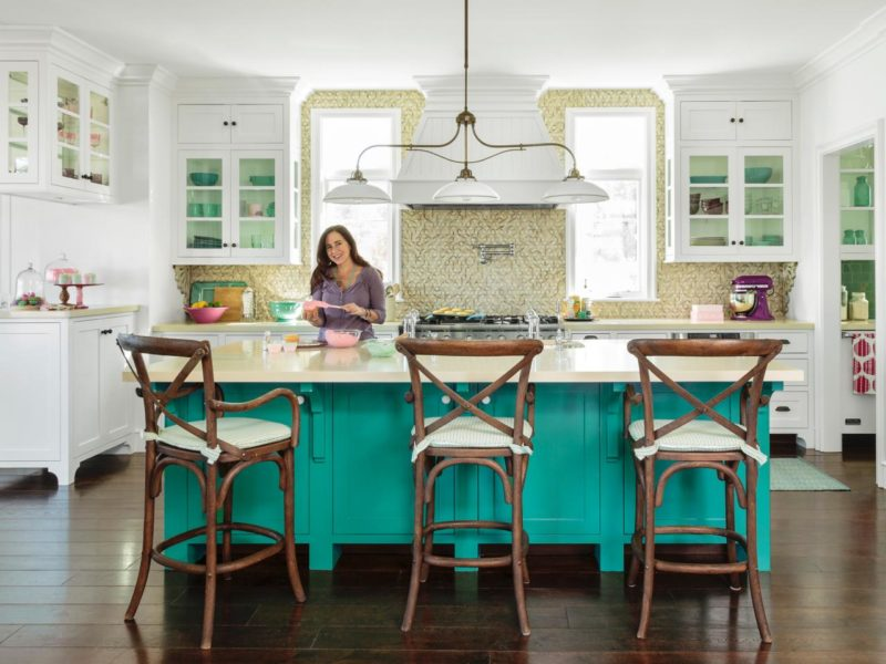 Teal Island with Purple accents in Kitchen