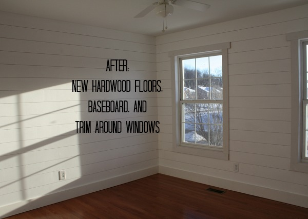 Small Bedroom AFTER with hardwoods and trim