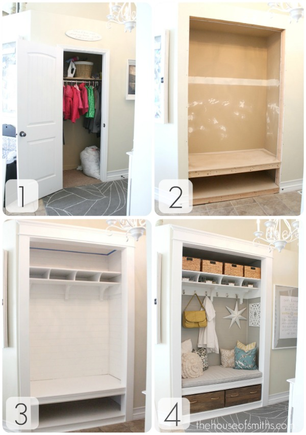 Before And After Entry Closet Turned Mudroom