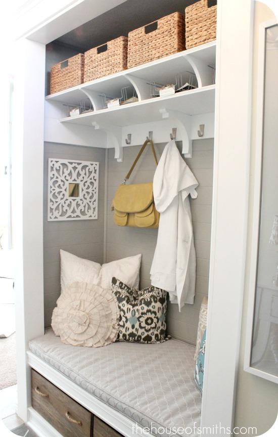 Turning a Coat Closet Into a Mudroom-Like Nook - Hooked on ...