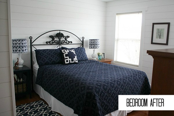 Small Navy and White Bedroom AFTER Makeover | hookedonhouses.net