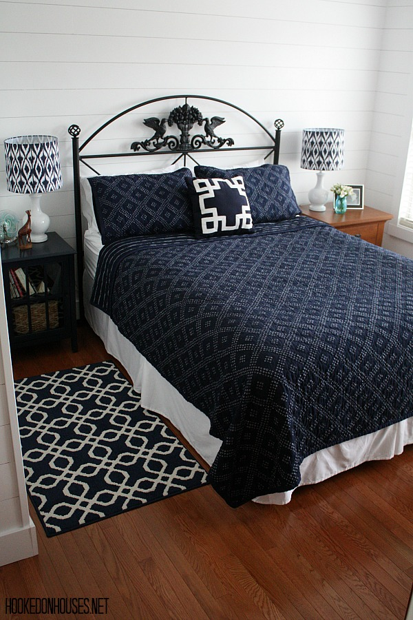 Blue and White Bedroom Makeover AFTER | hookedonhouses.net
