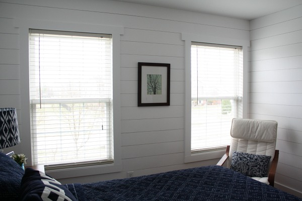 bedroom wall with shiplap