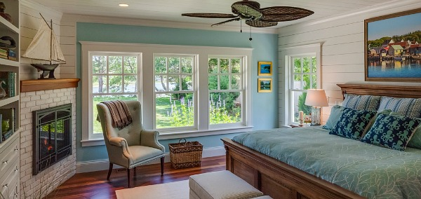 Blue bedroom in Cape Cod with water views