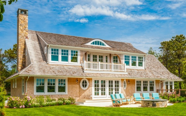 Shingled house on the water in Cape Cod