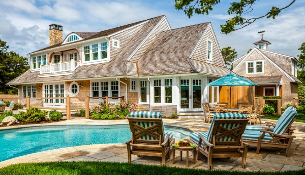 Shingled house on Cape Cod with backyard pool
