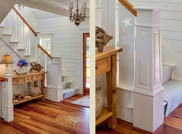 Stair railing with star cut-outs in Cape Cod home by the water   hookedonhouses.net